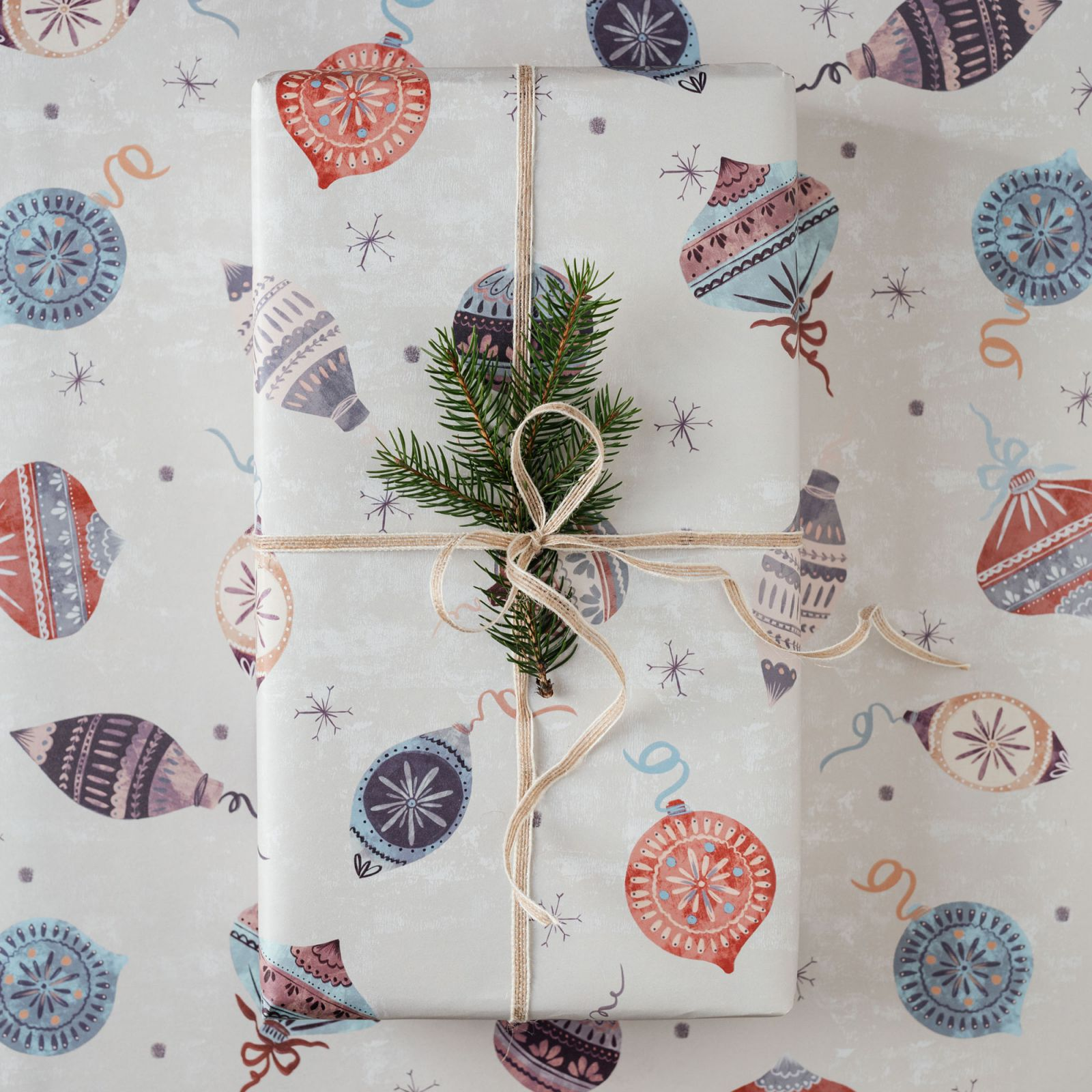 Papier Pakowy Christmas Baubles