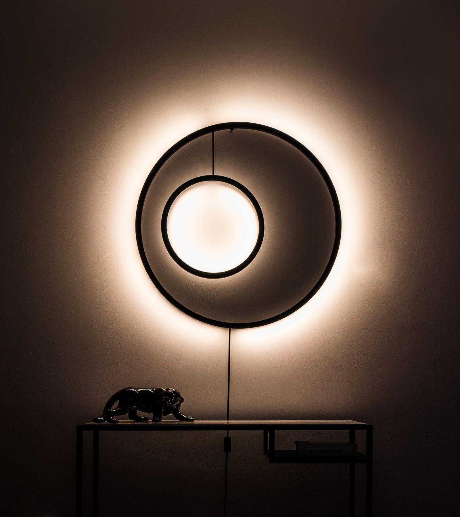 Lampa ścienna Dwa- Thła w kolorze czarnym