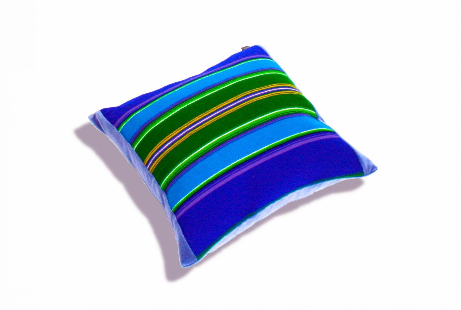 Niebieska poduszka folk, pasiak łowicki