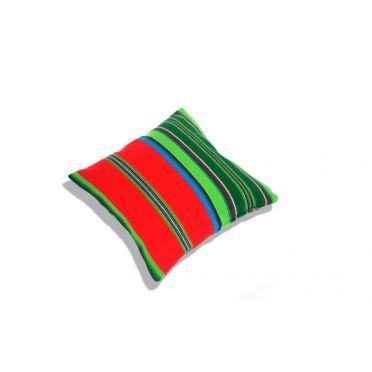 Czerwona poduszka folk, pasiak łowicki