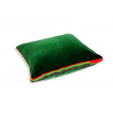 Zielona, aksamitna poduszka folk glamour